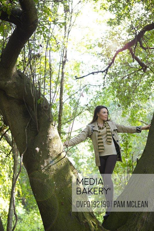 Young woman climbing tree