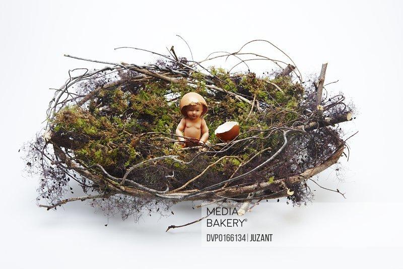 Plastic doll with broken egg shell in nest