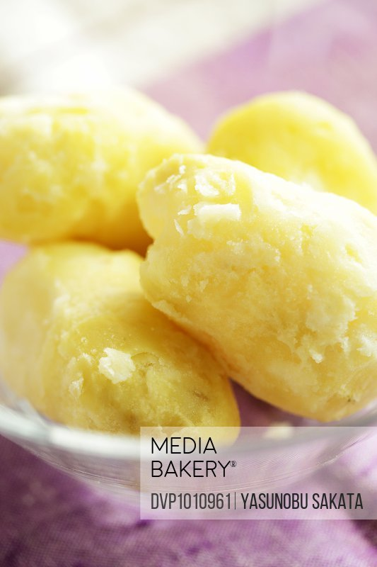 Steamed potatoes on dish,close up