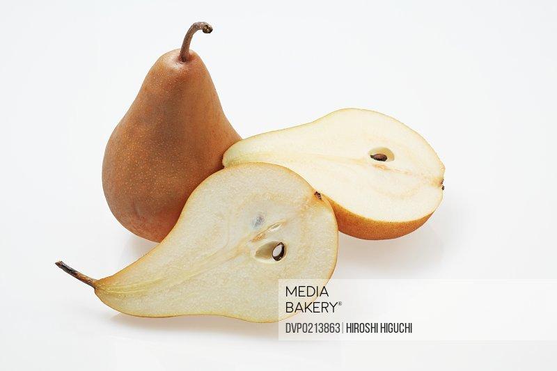Pears cut in half close-up