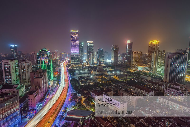Aerial view of Shanghai at night.