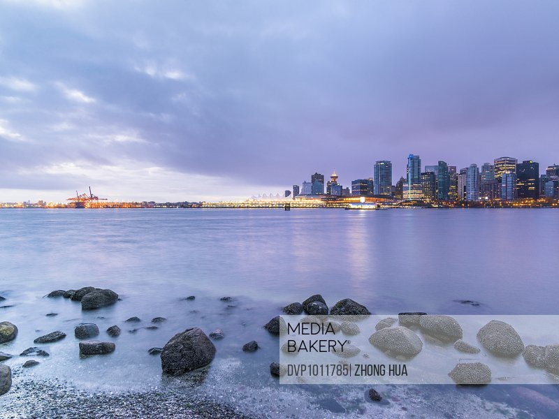 skyline of Vancouver in sunrise
