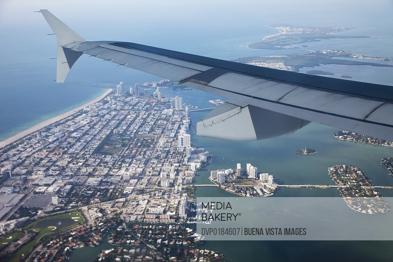 View of Miami Beach from an airplane