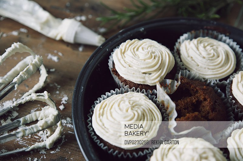 Frosted cupcakes still life