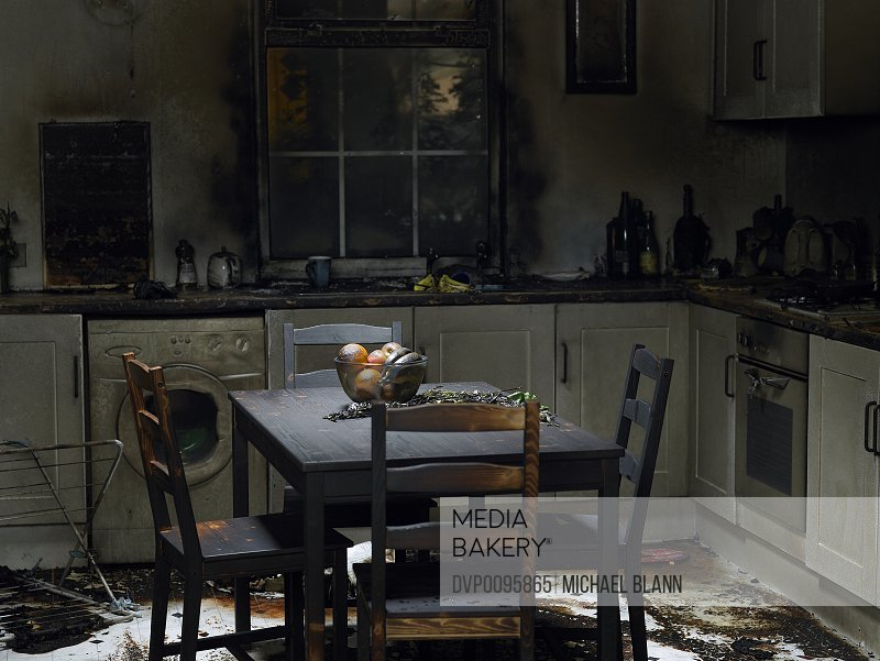 Domestic kitchen burnt in fire