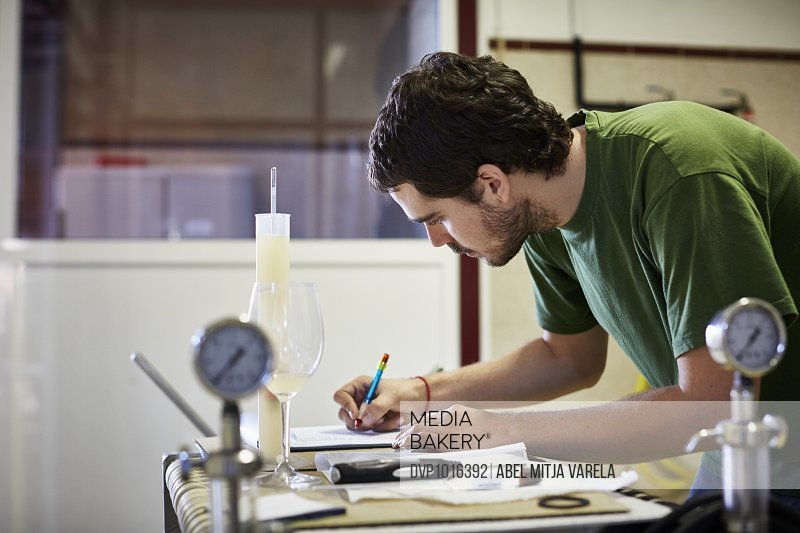 Worker writing remarks on wine at desk