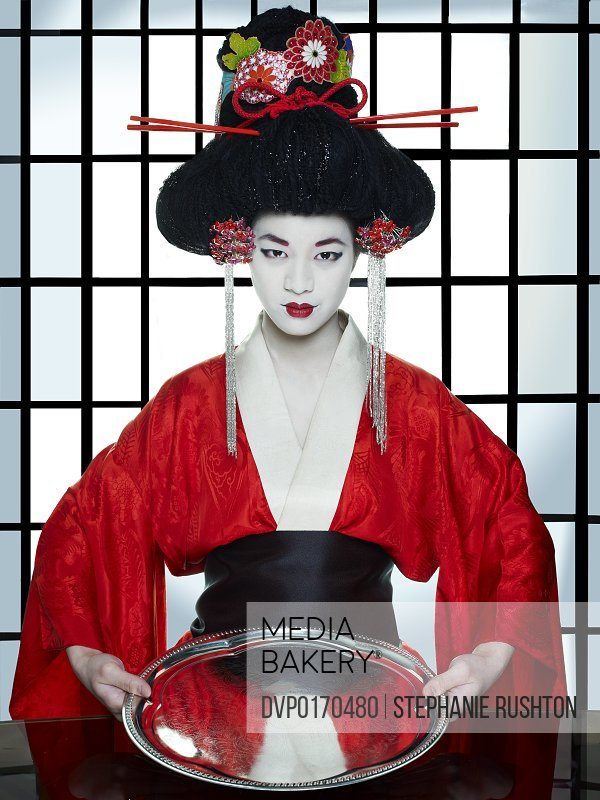 Geisha Asian Japanese Oriental Traditional red courtesan vertical make-up  make up costume kimono obi culture Eastern cultural entertainers empty  serving ...