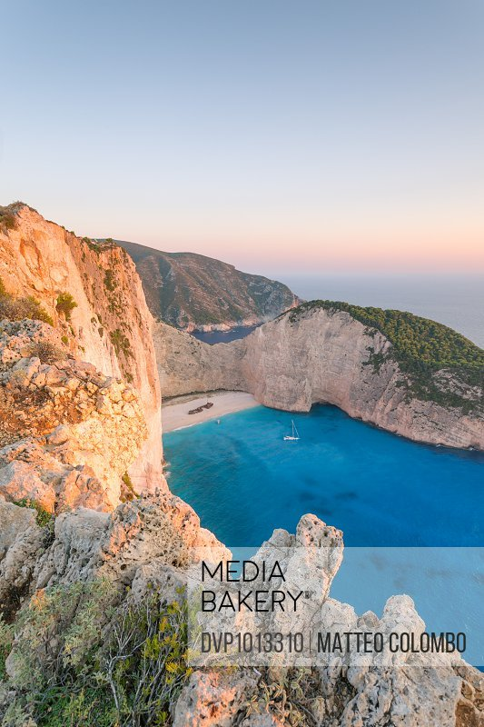Sunset on famous Navagio beach. Zakynthos, Greece