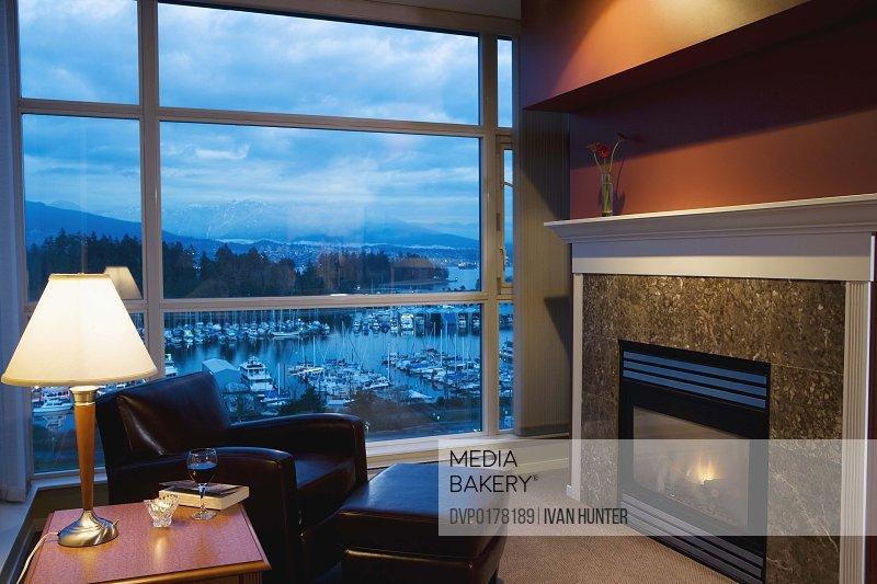 Elegant fireplace in hotel
