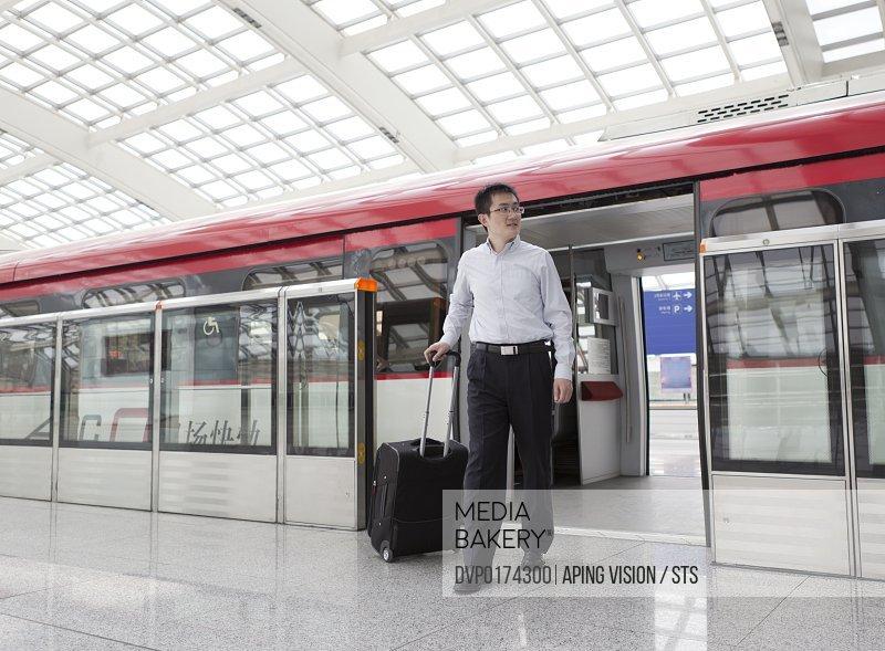 businessman travel by train