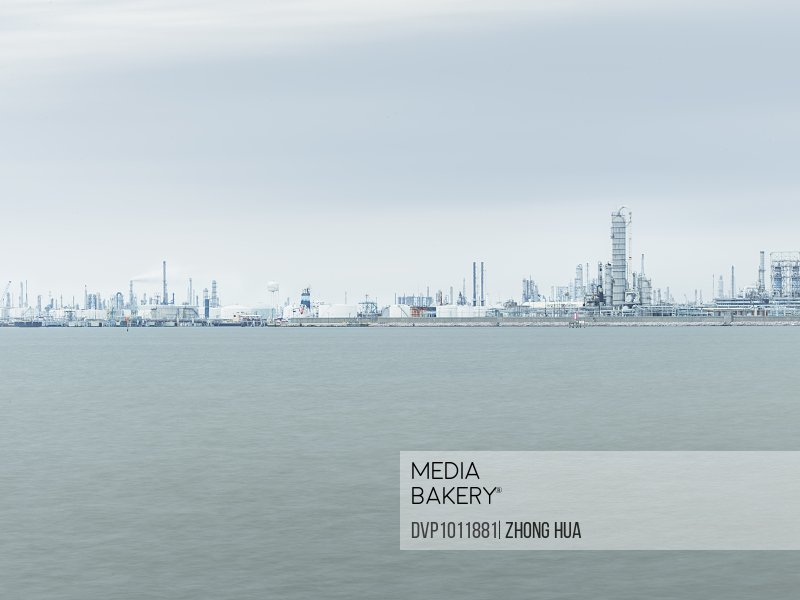 Infrastructure of chemical plant nearby ocean