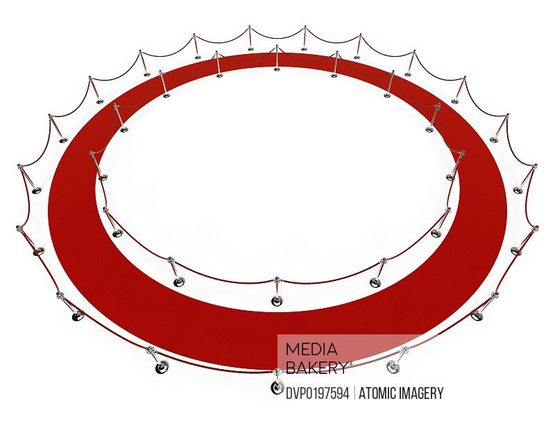 Red carpet Red rope forming an infinite circle