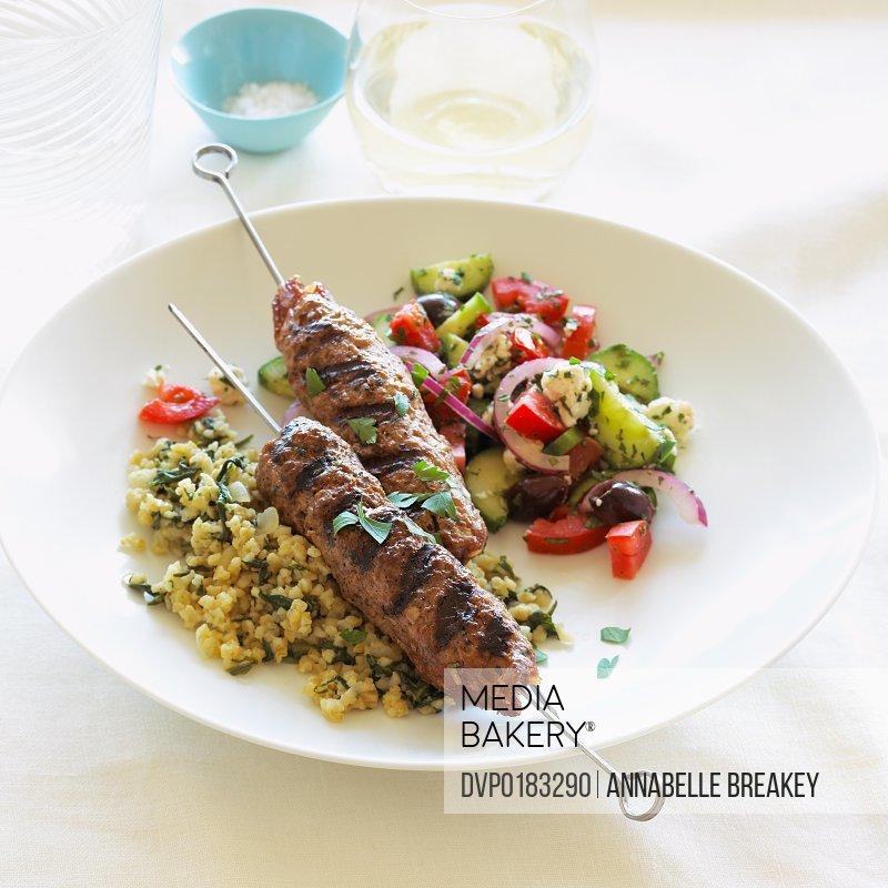 Armenian Beef or Lamb Kebabs Greek Salad Bulgur