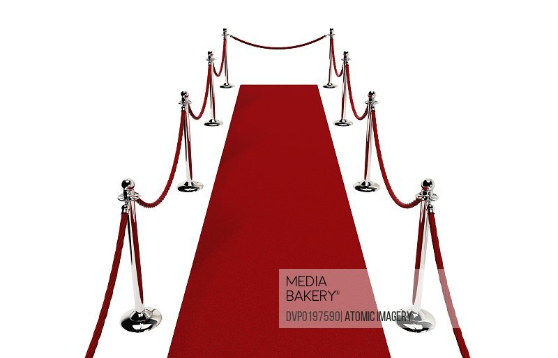 Path of Red carpet Red rope closed at end