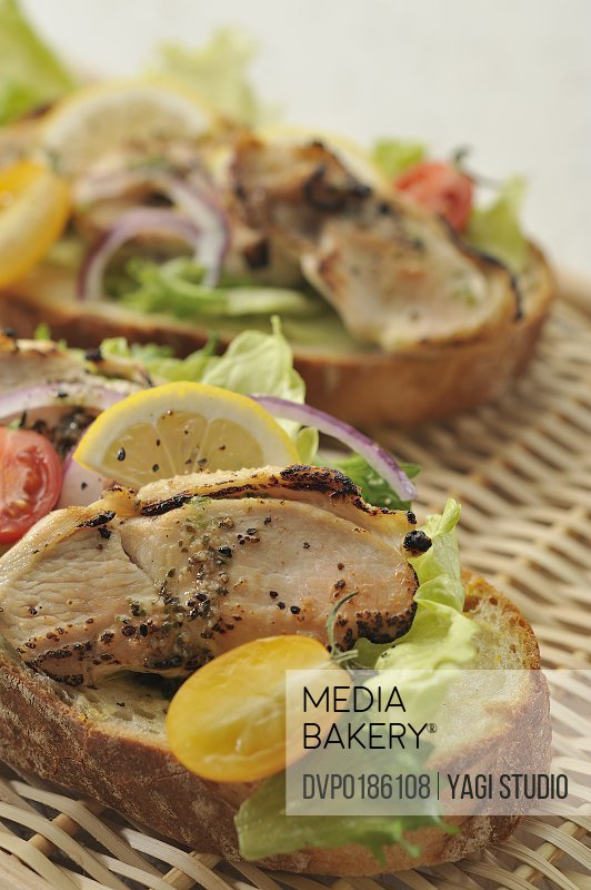 Chicken and vegetable open sandwiches