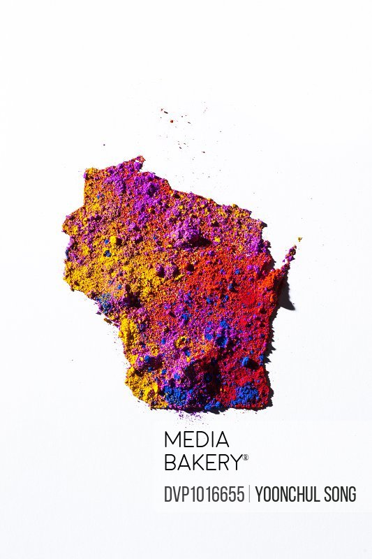 Map of Wisconsin, USA with colored powder