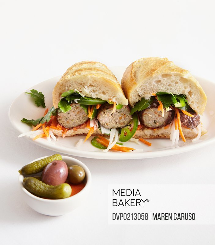 Vietnamese Banh Mi Sandwich with side dish