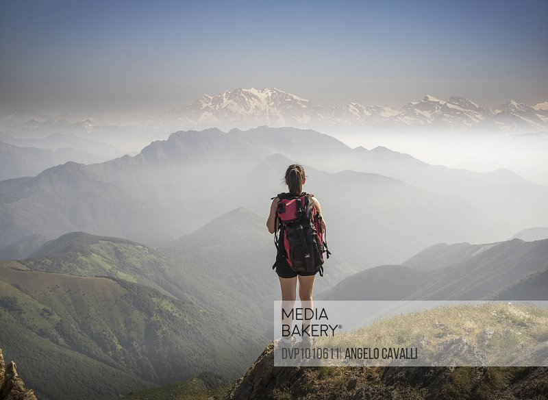 Woman on a mountaintop