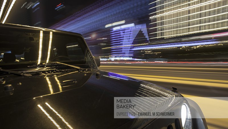 Black off road car driving in Dubai