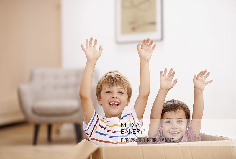 Two young brothers raising their arms as they jump out of a cardboard box