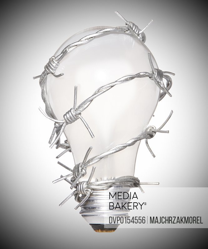 Light bulb with barbed wire wrapped around
