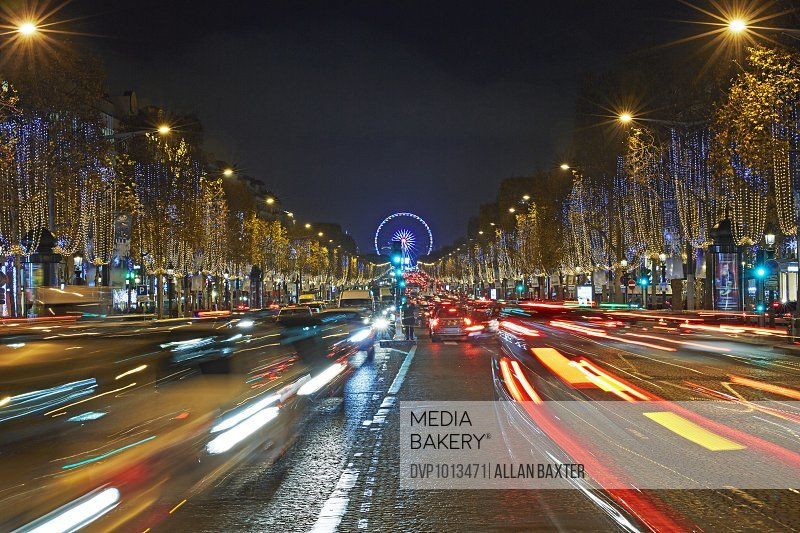 Traffic along the Champs Elysees at Christmas