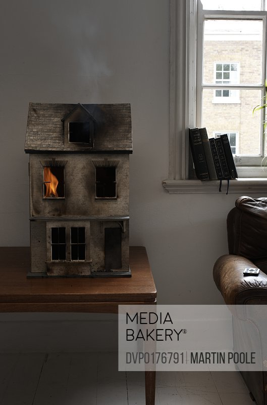 dolls house on fire
