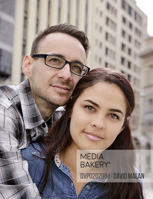 Portrait of a young adult couple in the city
