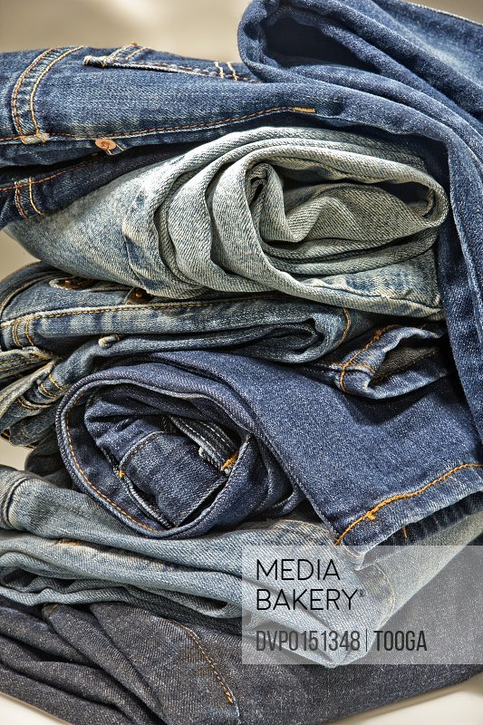 Stack of a variety of jeans