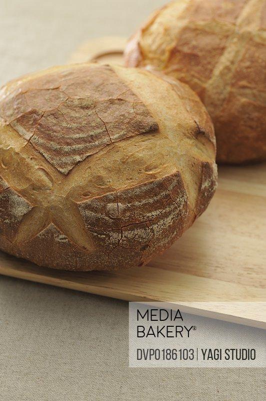 Bread on chopping board