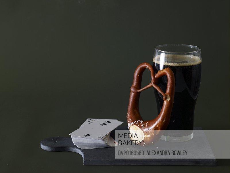 Pretzel beer and cards
