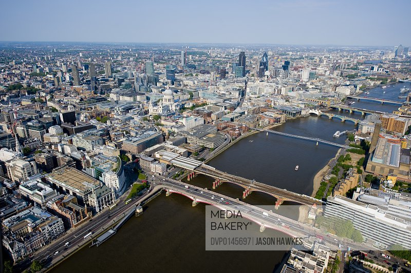 Aerial view of London looking East to City of London.