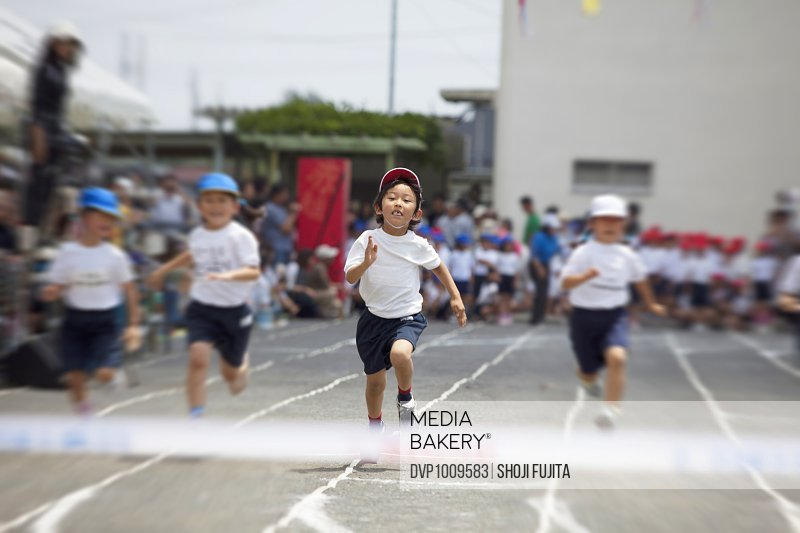 Students running during a field day