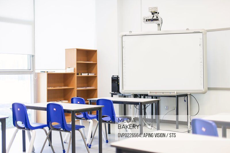 modern primary school classroom with smart board