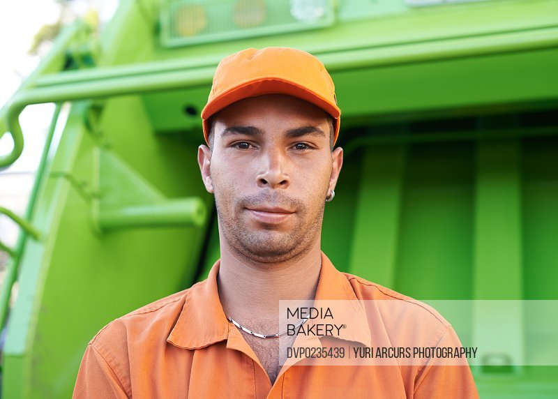 Cropped shot of a male worker on garbage day