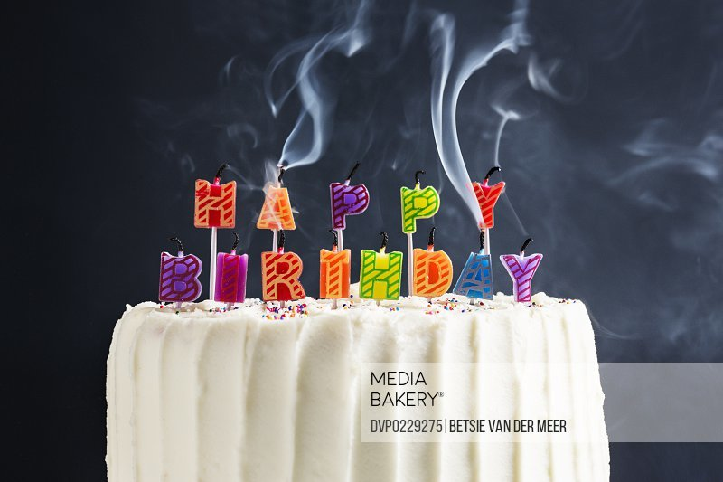 Hapstill Life Of Happy Birthday Candles Blown Out