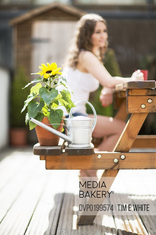 Woman sitting on bench with plants in the sun