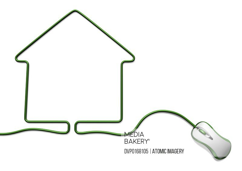 Green computer mouse with cable forming a house cut out on white background
