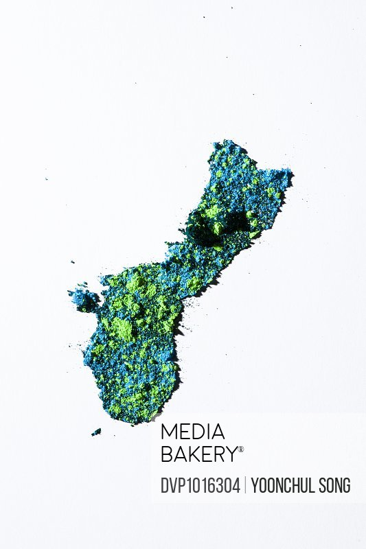 Map of Guam, USA with colored powder
