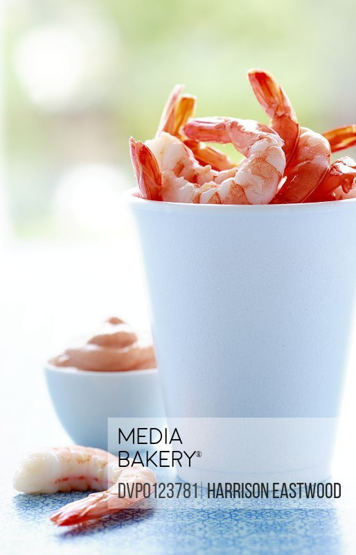 Cup of shelled prawns with Marie Rose sauce