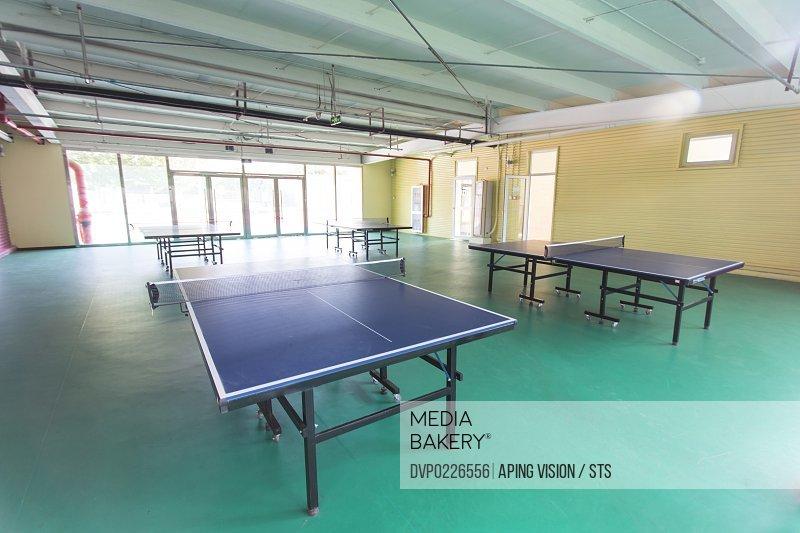indoor table tennis court of school