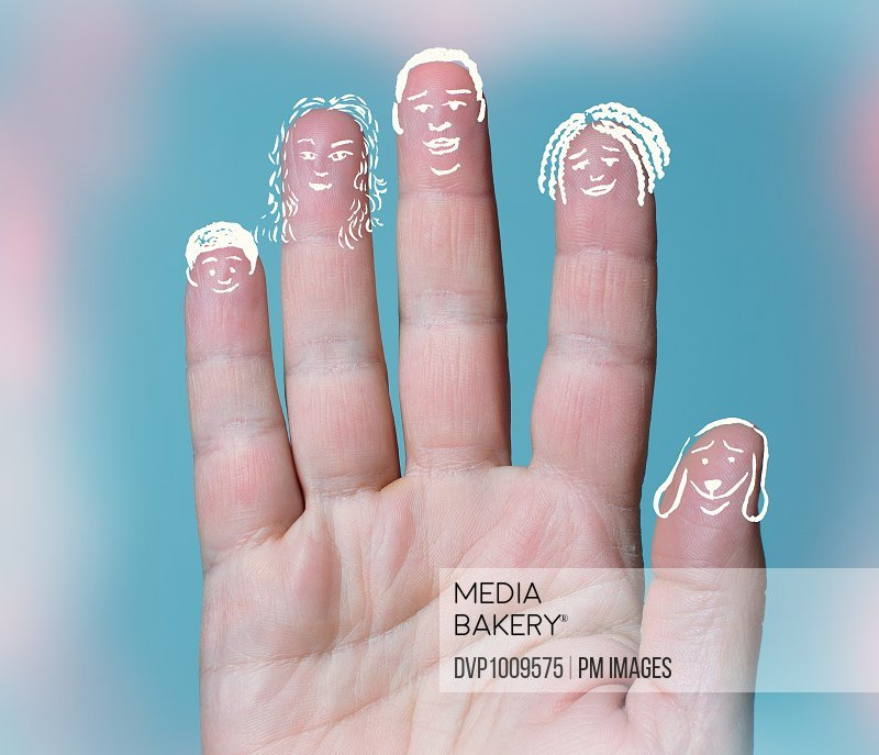 Young woman's hand with a family member drawn on each finger