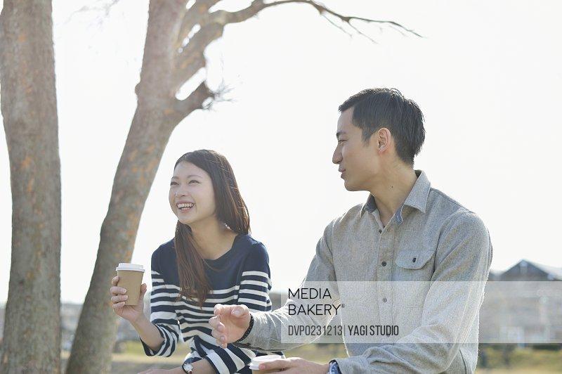 Asian couple enjoy talk