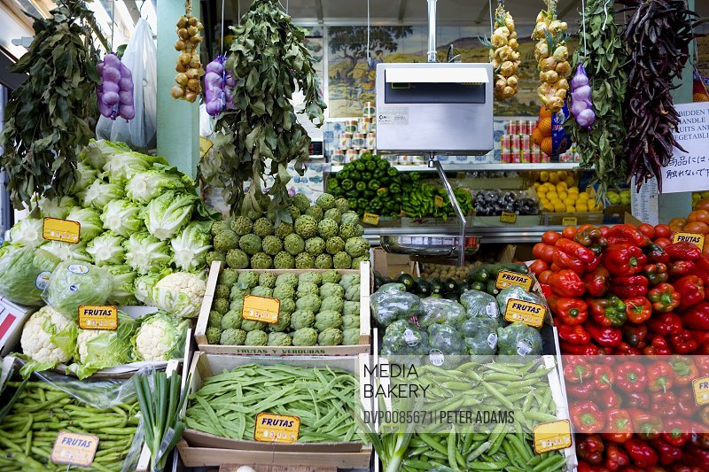 Fruit and vegetable market stall