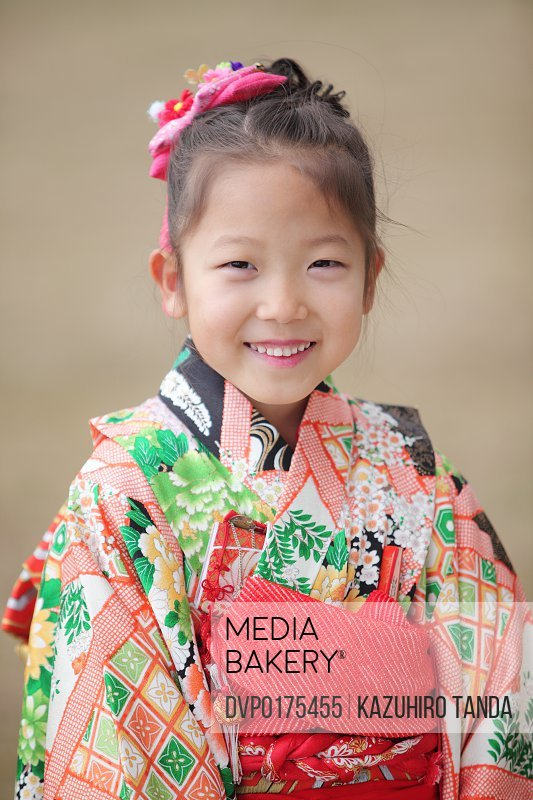 Girl who put on kimono portlait