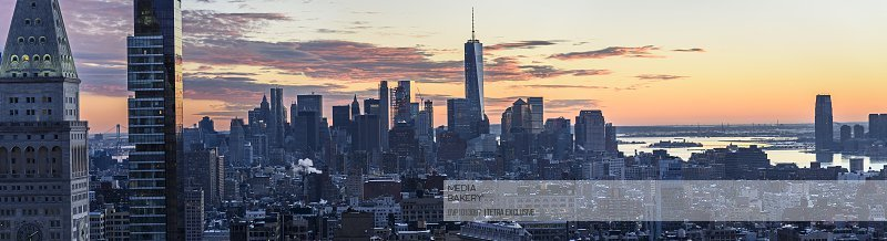 USA, New York State, New York City, Downtown district at sunset