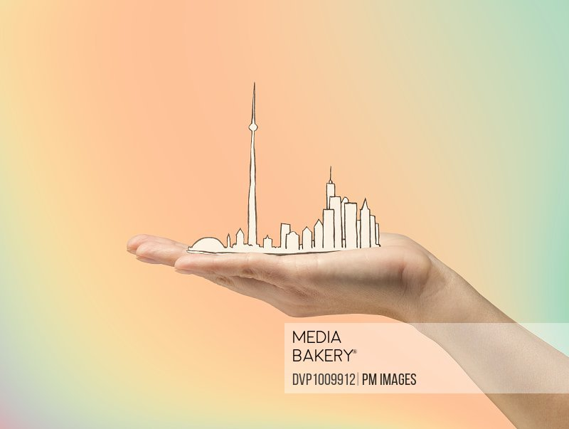Woman's hand holding illustration of Toronto Canada on gray background
