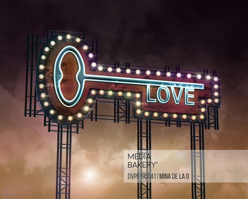 neon key love