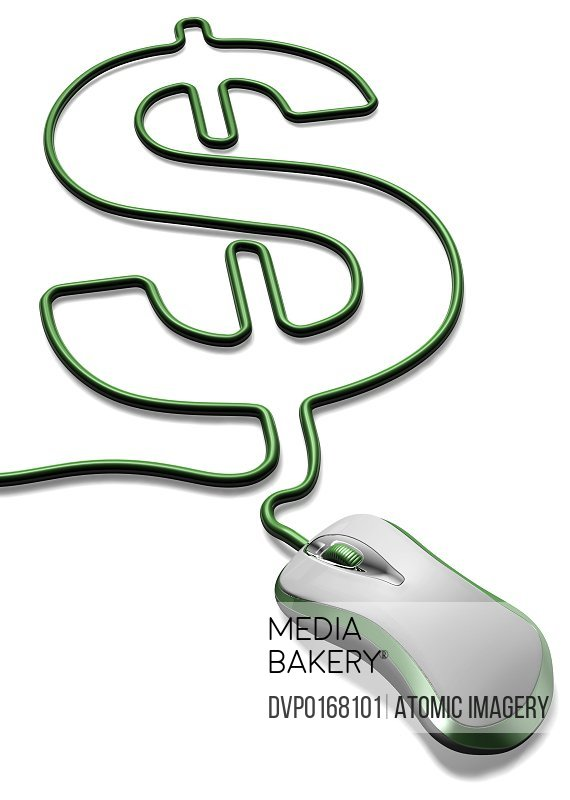 Green computer mouse with cable forming a dollar sign cut out on white background