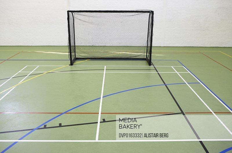 Empty five a side goal in a school sports hall